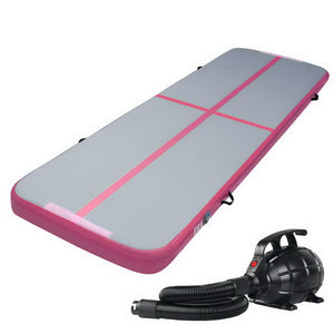 Everfit GoFun 3X1M Inflatable Air Track Mat with Pump Tumbling Gymnastics Pink - [HappyShopping.com.au]