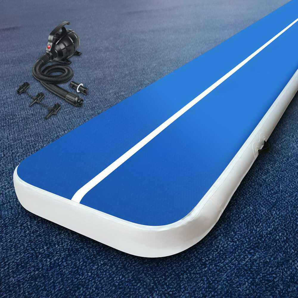 Everfit 4X1M Inflatable Air Track Mat 20CM Thick with Pump Tumbling Gymnastics Blue - [HappyShopping.com.au]