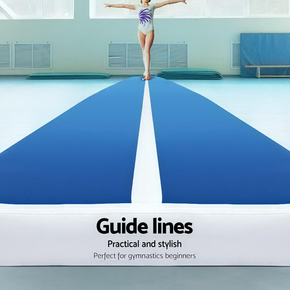 5m x 1m Inflatable Air Track Mat 20cm Thick Gymnastic Tumbling Blue And White - [HappyShopping.com.au]