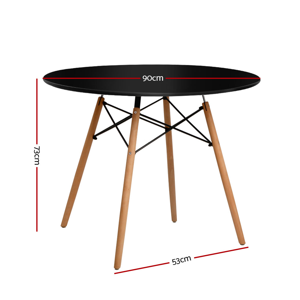 Artiss Dining Table 4 Seater Round Replica DSW cafe Kitchen Timber Black 90cm