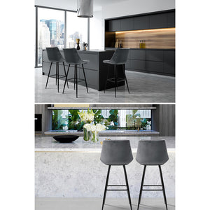 Artiss Set of 2 Velvet Bar Stools - Grey