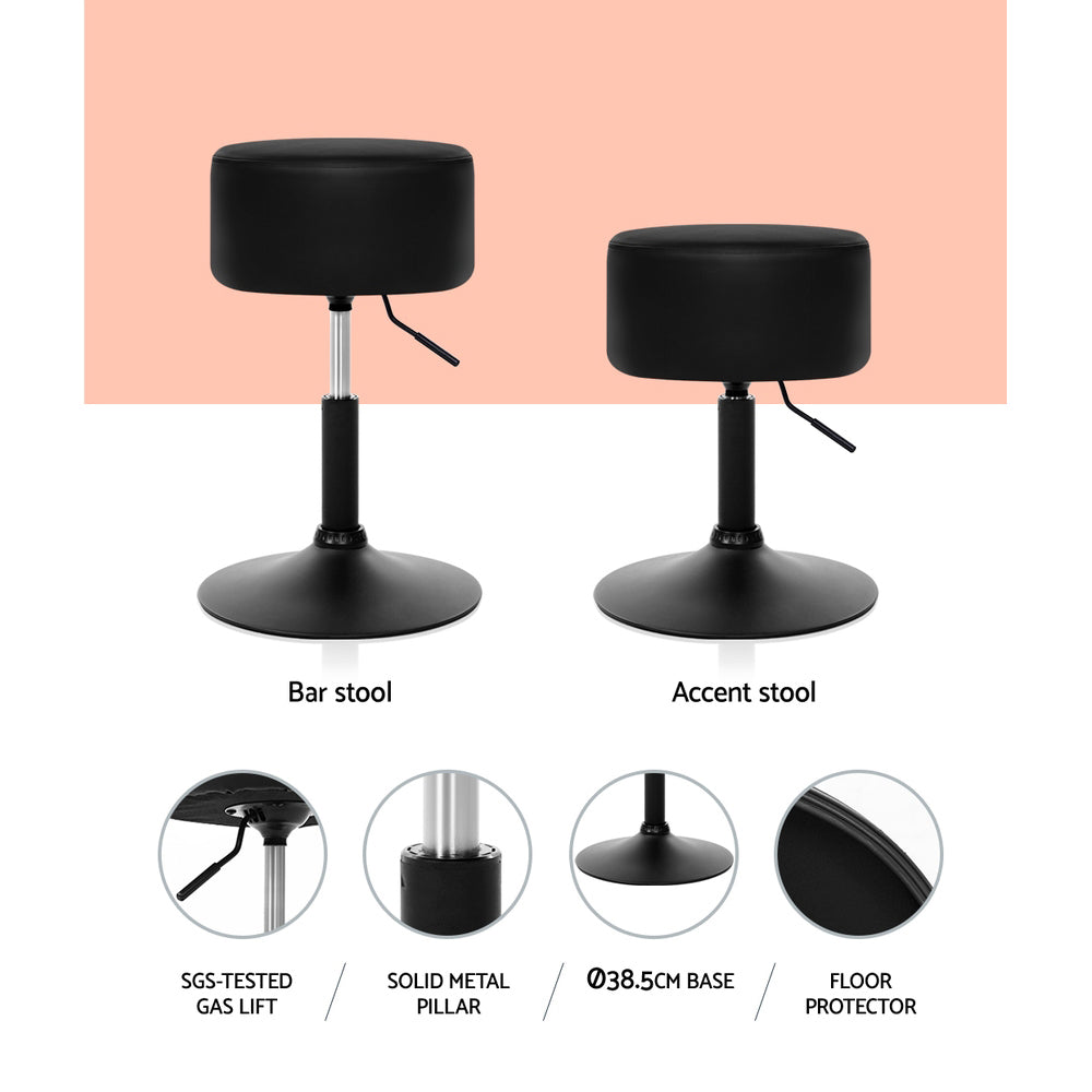 Artiss Kitchen Bar Stools Accent Chairs Gas Lift Stool Swivel Barstools Leather Black - [HappyShopping.com.au]