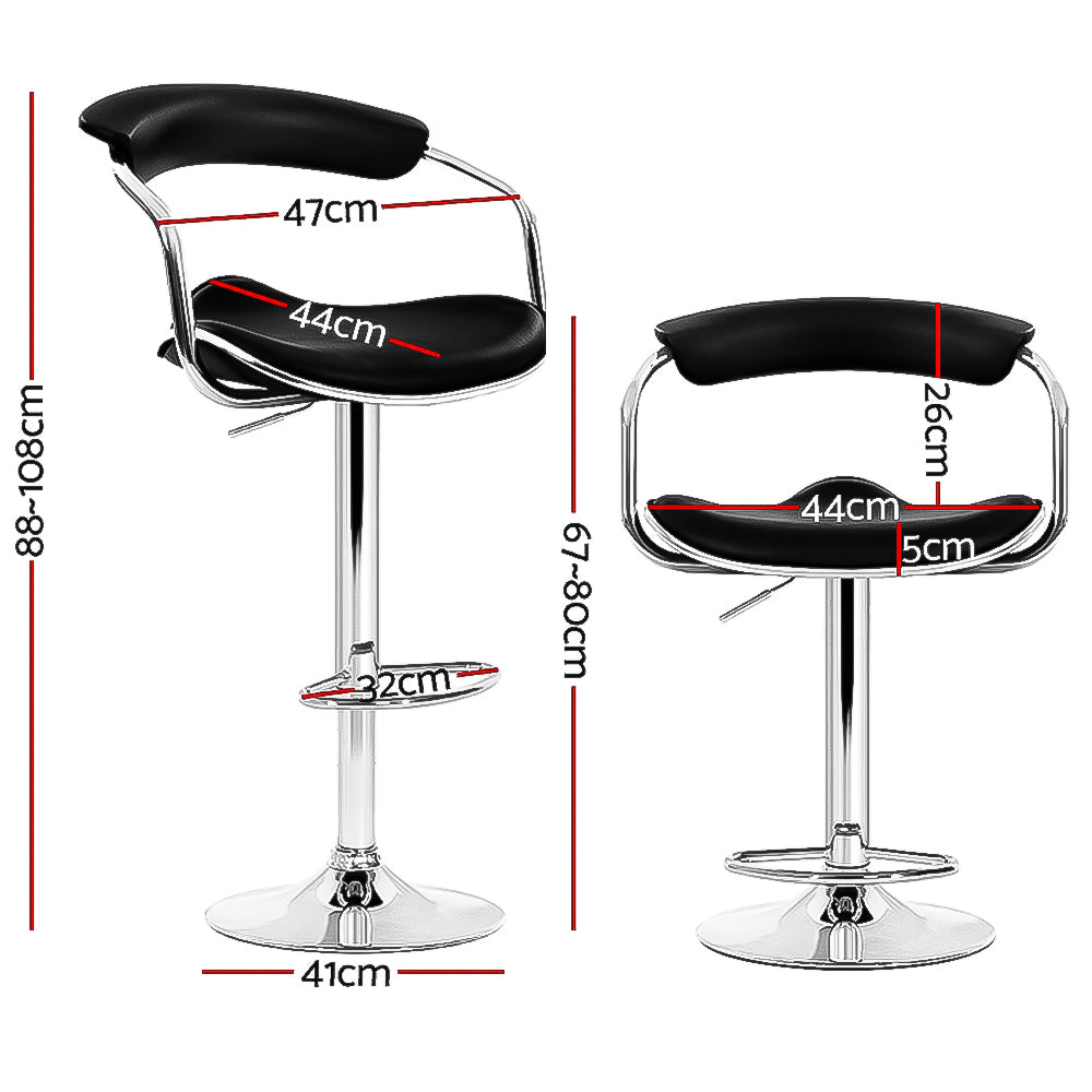 Artiss set of 4 PU Leather Bar Stools ADE Kitchen Chairs Swivel Bar Stool Black Gas Lift
