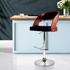 Artiss Wooden PU Leather Gas Lift Bar Stool - Black and Wood
