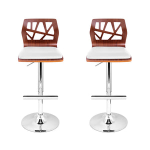 Artiss Set of 2 Wooden Gas Lift Bar Stools - White and Wood