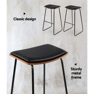 Artiss Set of 2 PU Leather Backless Bar Stools - Black - [HappyShopping.com.au]