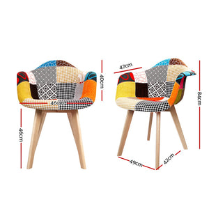 Artiss Set of 2 Fabric Dining Chairs - [HappyShopping.com.au]