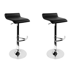 Artiss Set of 2 PU Leather Bar Stools - Black - [HappyShopping.com.au]