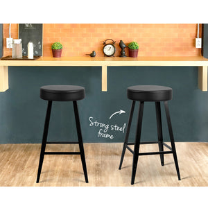 Artiss Set of 2 PU Leather Bar Stools Square Footrest - Black