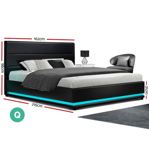 Artiss RGB LED Bed Frame Queen Size Gas Lift Base Storage Black Leather LUMI