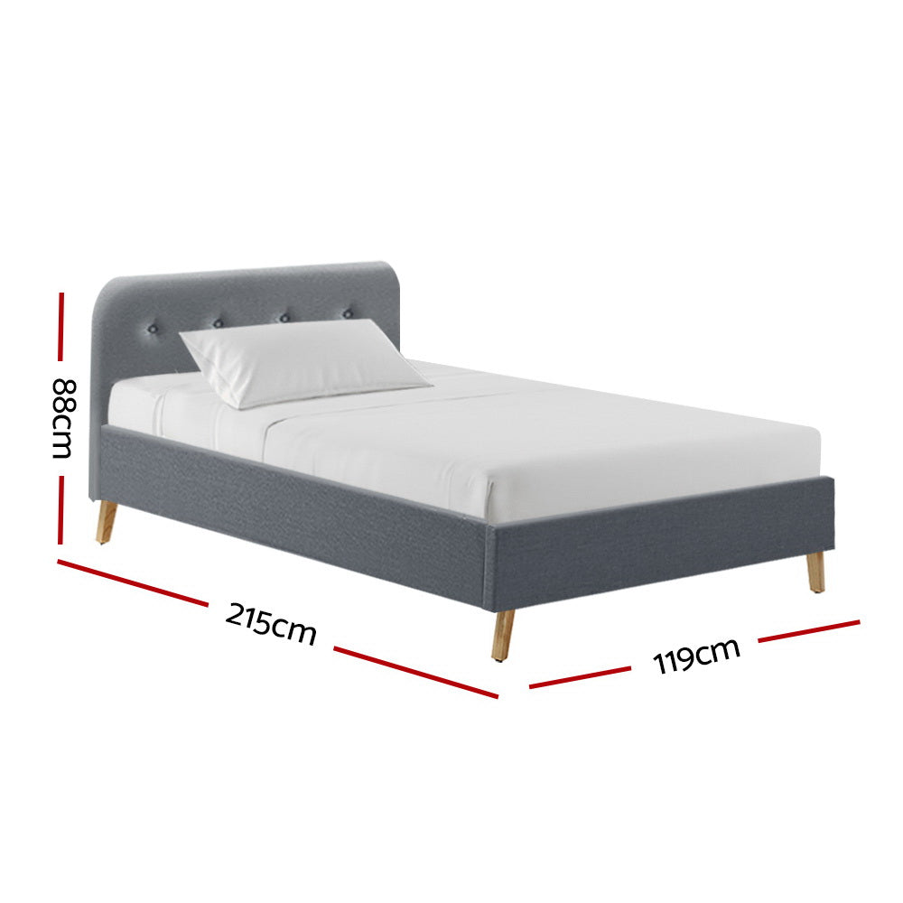 Artiss King Single Size Bed Frame Base Mattress  Fabric Wooden Grey POLA