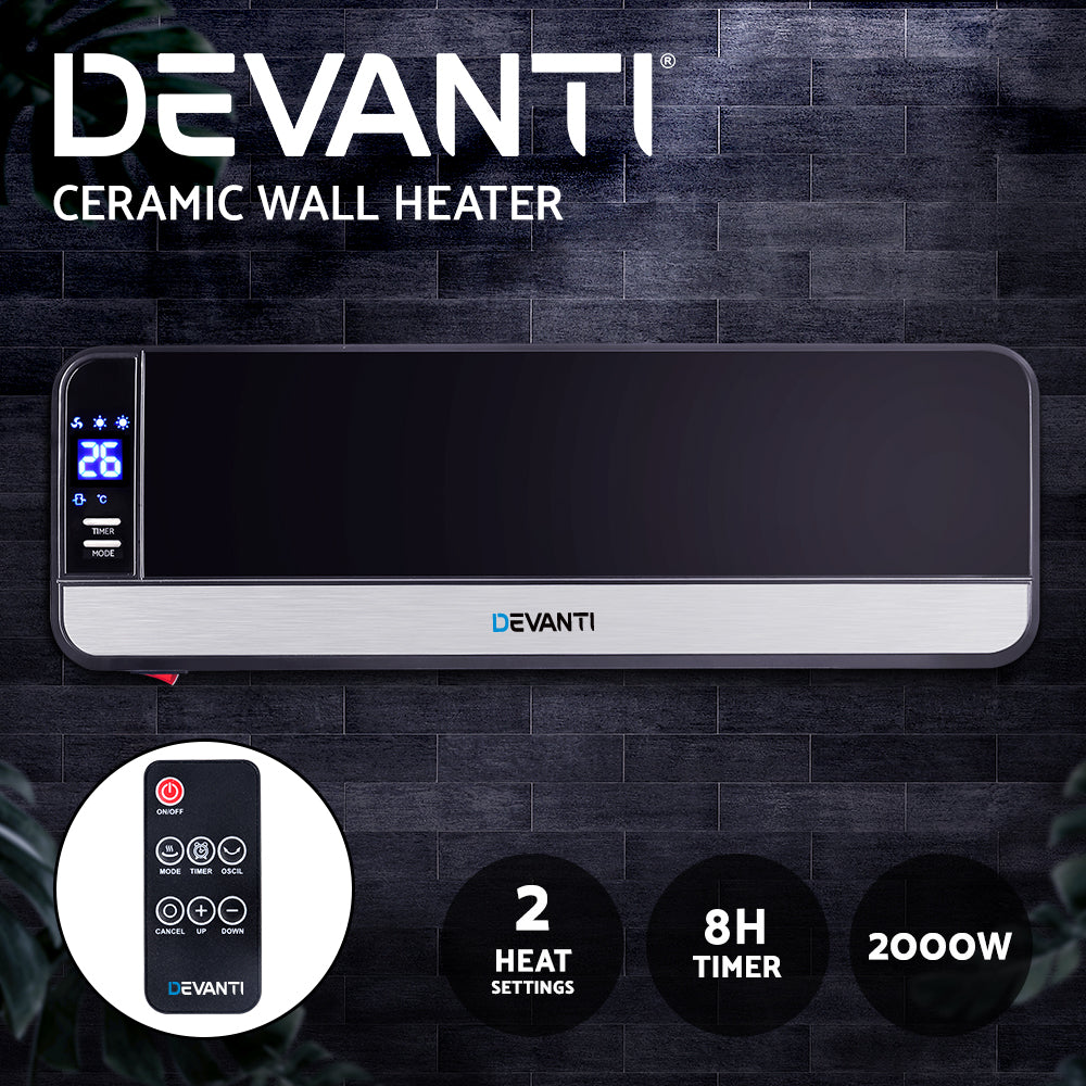 Devanti 2000W Wall Mounted Panel Heater - Black