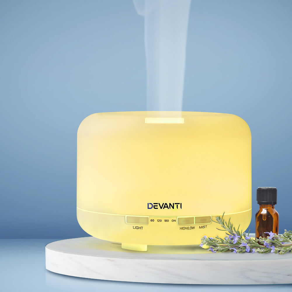 Devanti 500ml 4 in 1 Aroma Diffuser - White - [HappyShopping.com.au]