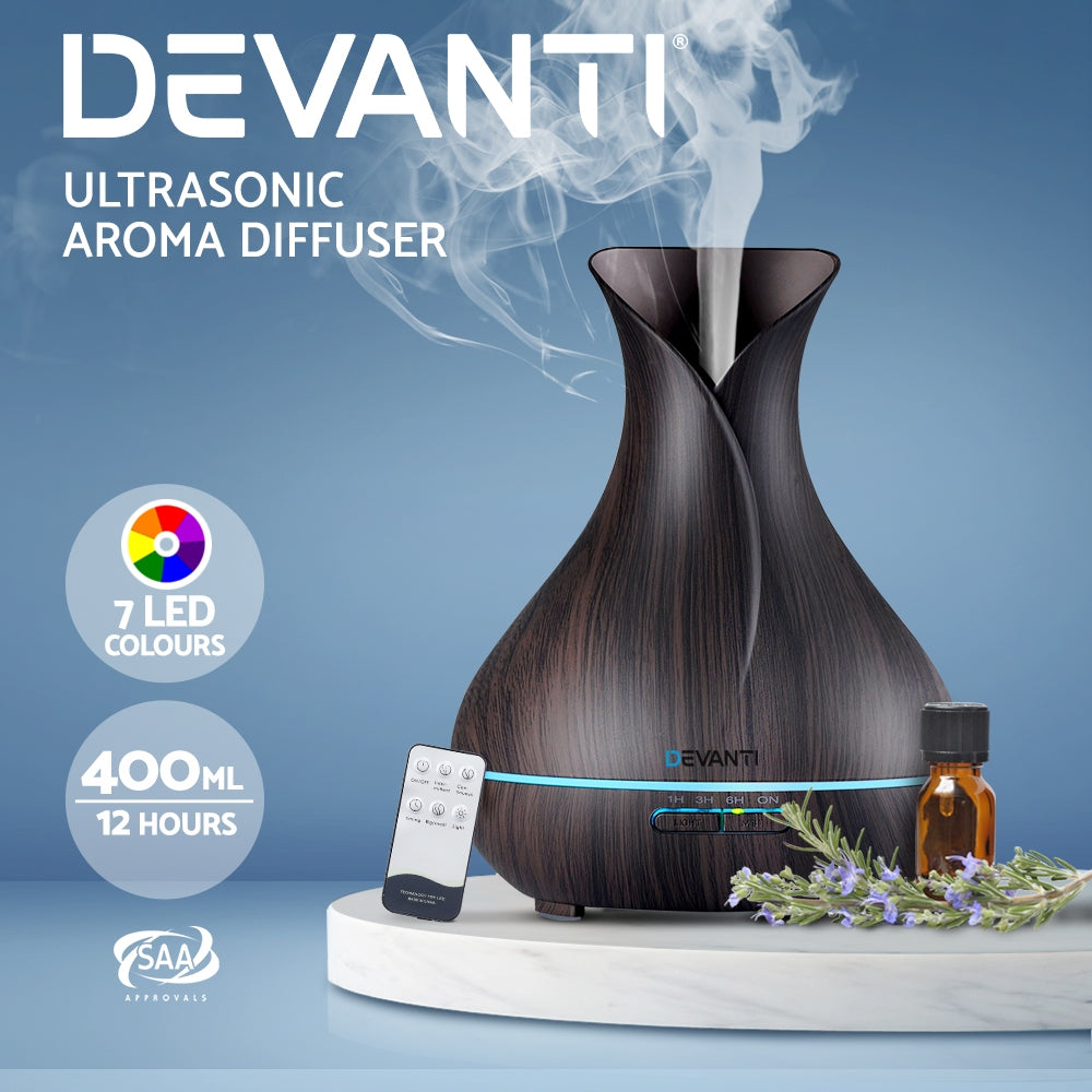Devanti 400ml 4 in 1 Aroma Diffuser with remote control- Dark Wood - [HappyShopping.com.au]