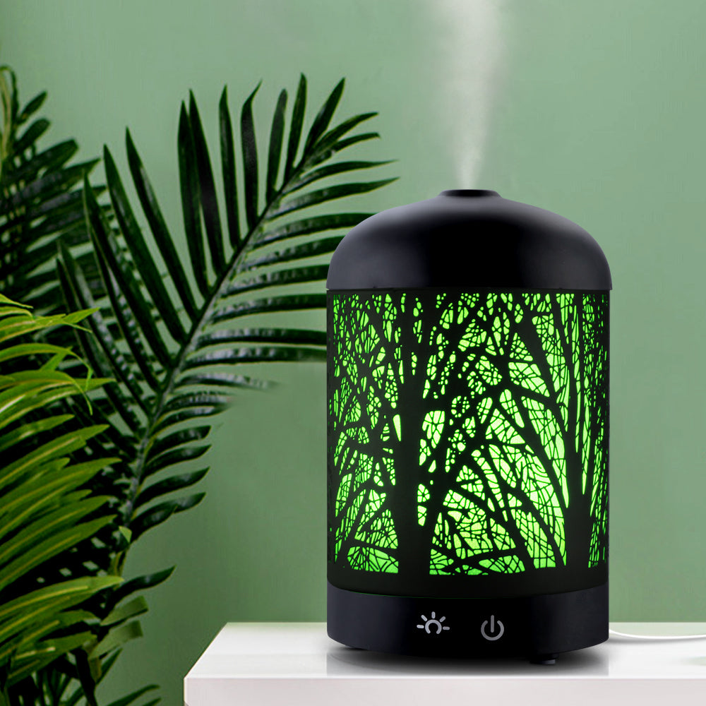 DEVANTI Aroma Diffuser Aromatherapy LED Night Light Iron Air Humidifier Black Forrest Pattern 100ml - [HappyShopping.com.au]