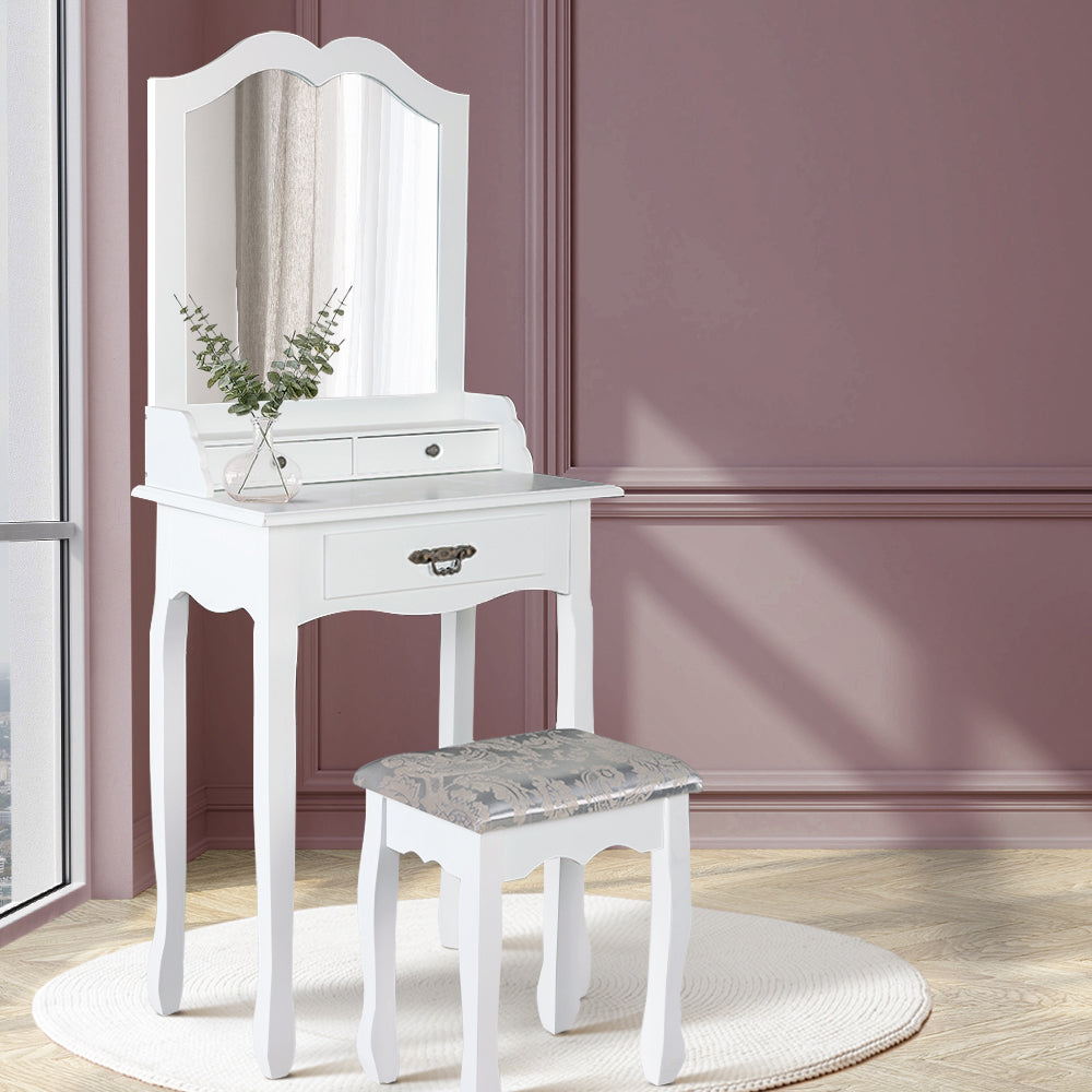 Artiss Dressing Table Stool Mirror Drawer Makeup Jewellery Cabinet White Desk - [HappyShopping.com.au]