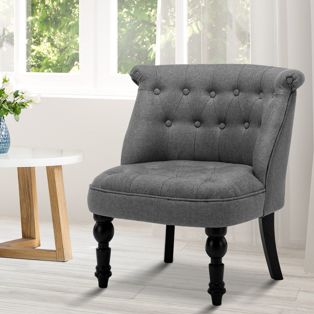 Artiss Lorraine chair - Grey - [HappyShopping.com.au]