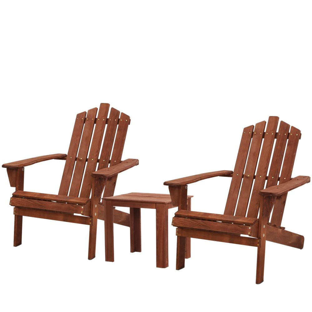 Gardeon Outdoor Sun Lounge Beach Chairs Table Setting Wooden Adirondack Patio Chair Brwon - [HappyShopping.com.au]
