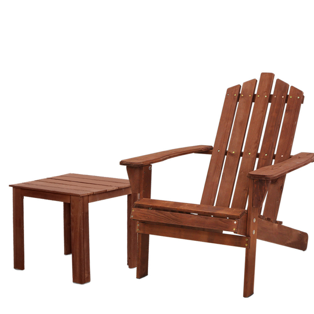 Gardeon Outdoor Sun Lounge Beach Chairs Table Setting Wooden Adirondack Patio Lounges Chair - [HappyShopping.com.au]