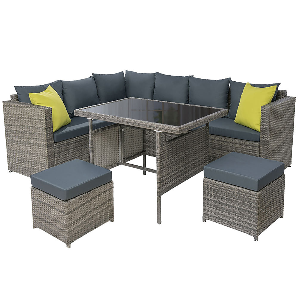 Gardeon Outdoor Furniture Patio Set Dining Sofa Table Chair Lounge Garden Wicker Grey