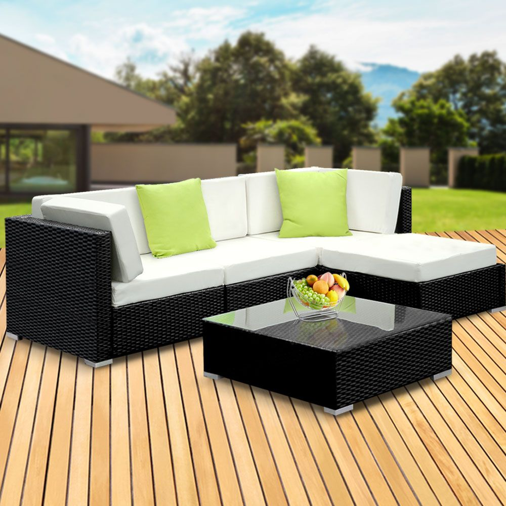 Gardeon 5PC Outdoor Furniture Sofa Set Wicker Garden Patio Pool Lounge