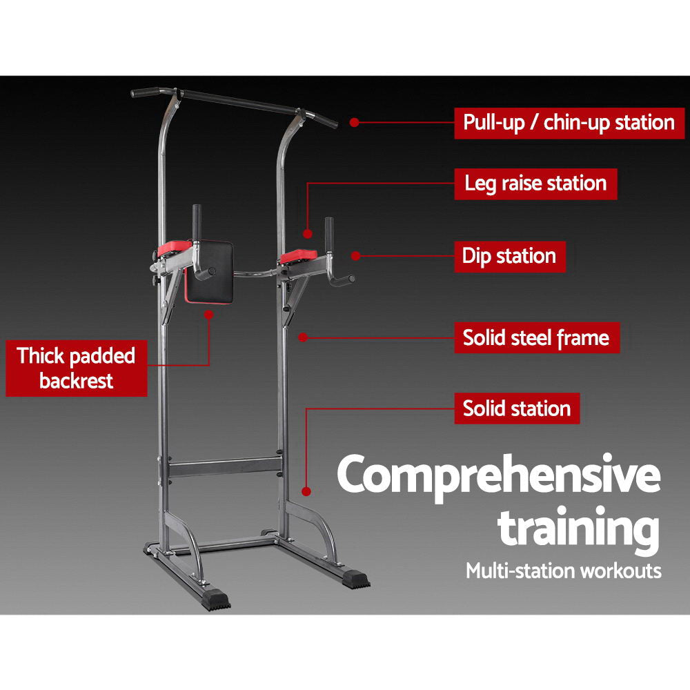Everfit Power Tower 4-IN-1 Multi-Function Station Fitness Gym Equipment - [HappyShopping.com.au]