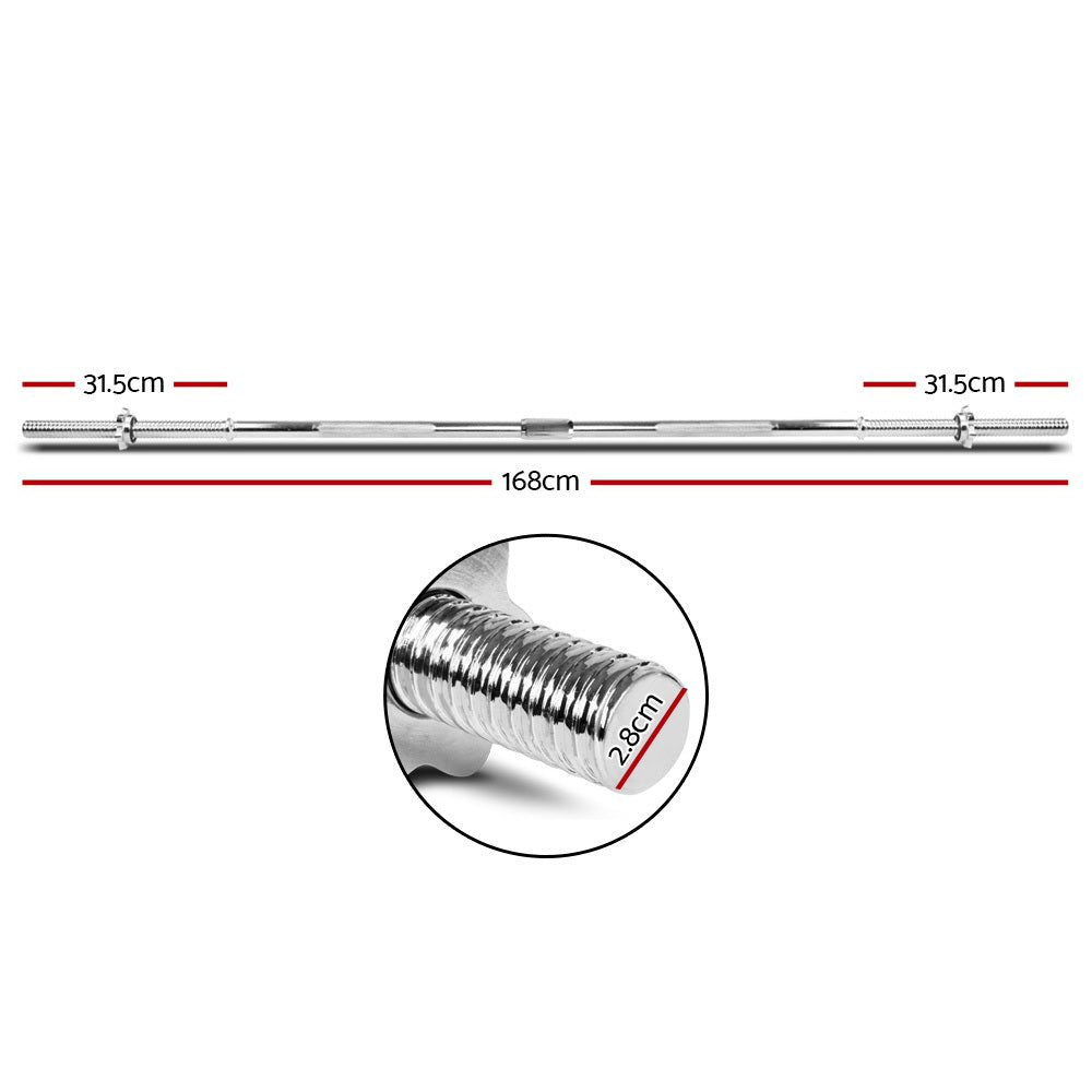 Everfit Steel Weight Barbell 168cm