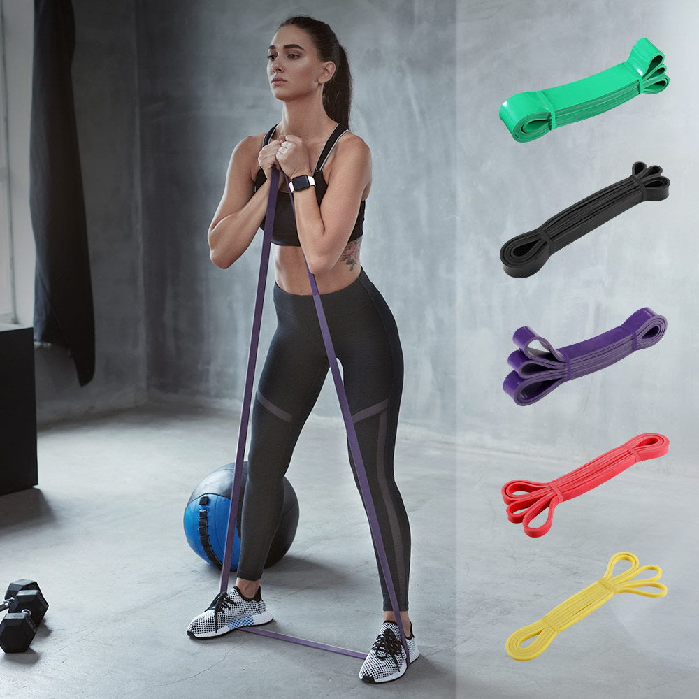 5pcs Set Resistance Bands Loop Gym Fitness Exercise Yoga Training Booty Band - [HappyShopping.com.au]