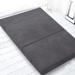 Giselle Bedding Double Size Folding Foam Mattress Portable Bed Mat Velvet Dark Grey