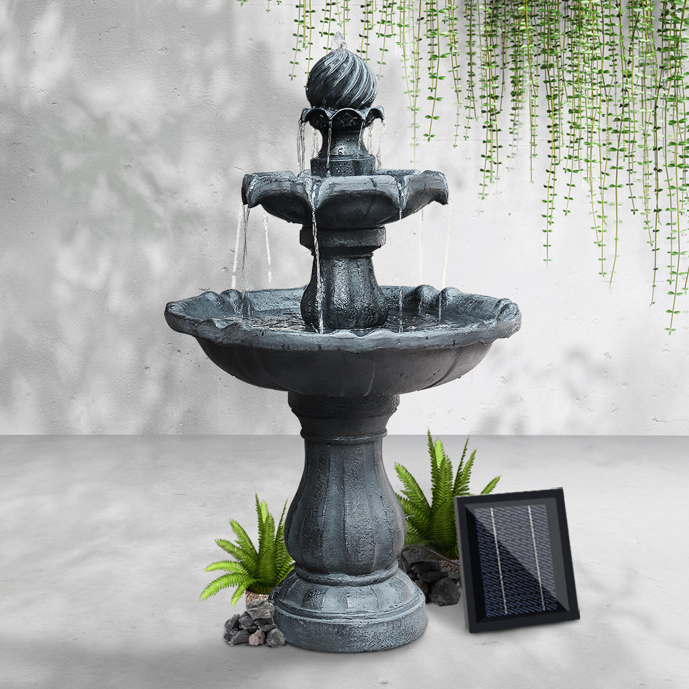 Gardeon 3 Tier Solar Powered Water Fountain - Black - [HappyShopping.com.au]