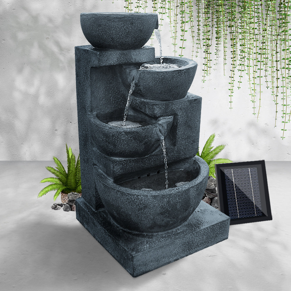 Gardeon 4 Tier Solar Powered Water Fountain with Light - Blue - [HappyShopping.com.au]