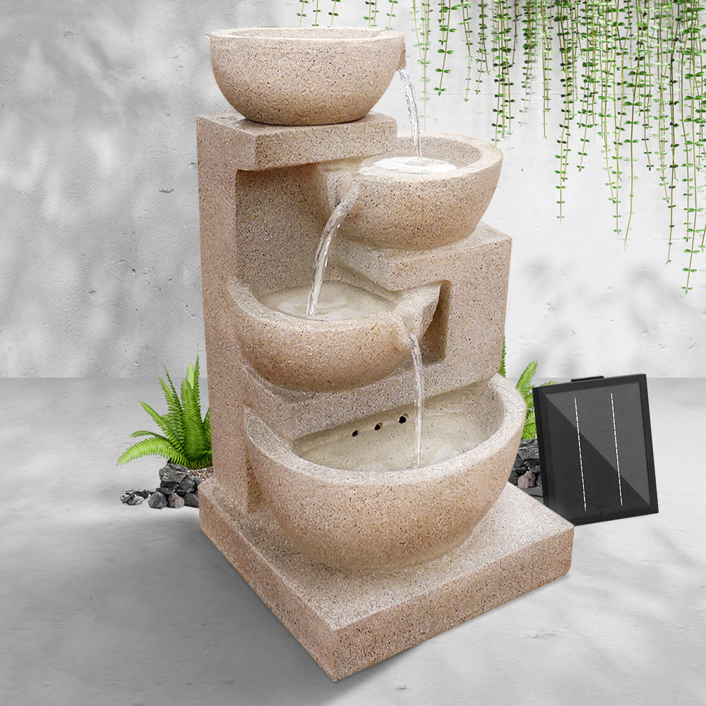 Gardeon  4 Tier Solar Powered Water Fountain with Light - Sand Beige - [HappyShopping.com.au]