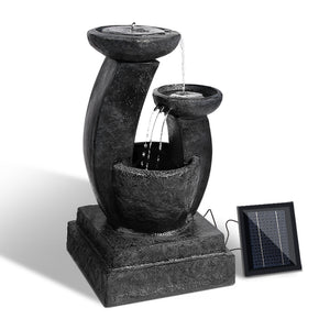 Gardeon 3 Tier Solar Powered Water Fountain with Light - Blue - [HappyShopping.com.au]