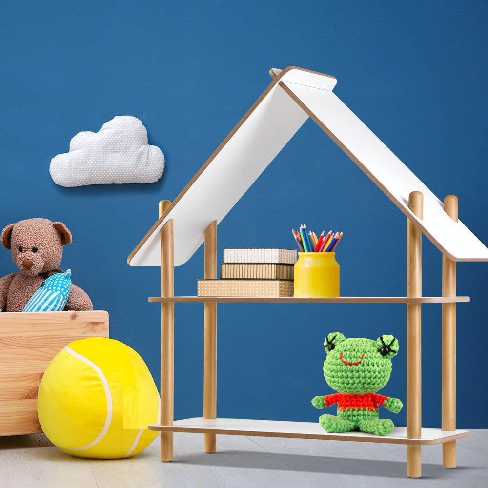 Keezi Wooden Cabin Kids Bookcase Display Shelf Childrens Bookshelf Organizer - [HappyShopping.com.au]