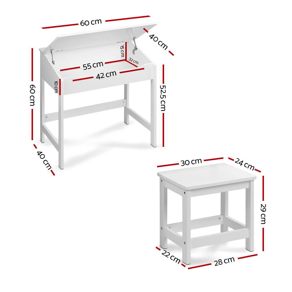 Keezi Kids Table and Chairs Set Children Drawing Writing Desk Storage Toys Play - [HappyShopping.com.au]