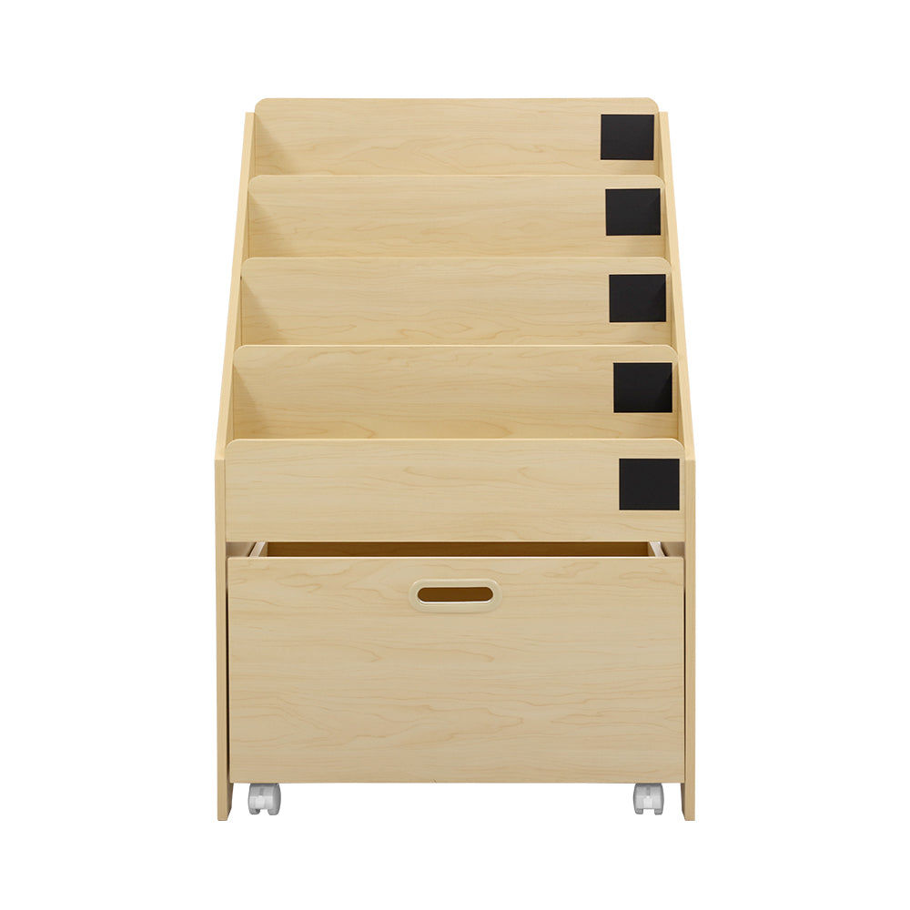 Keezi Kids Bookcase Childrens Bookshelf Organiser Storage Shelf Wooden Beige - [HappyShopping.com.au]
