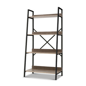 Artiss Bookshelf 4Tier Metal Bookcase Bookshelves Oak Book Shelf Display Storage