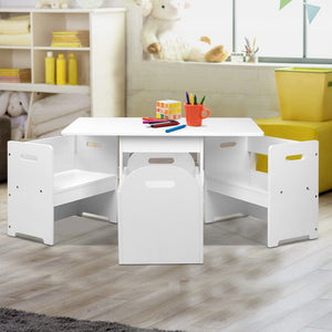 Keezi 4PCS Kids Table and Chairs Set Storage Box Toys Play Desk Wooden Children - [HappyShopping.com.au]