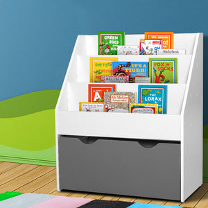 Keezi Kids Bookshelf Childrens Bookcase Organiser Storage Shelf Wooden White - [HappyShopping.com.au]