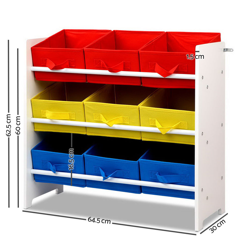 Keezi 3-Tier 9 Bins Kids Toy Box Organiser Storage Rack Cabinet Wooden Bookcase