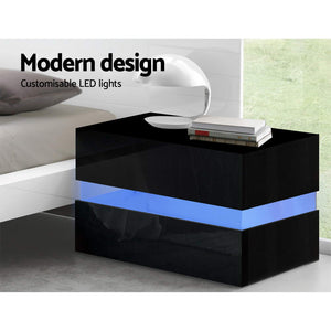 Artiss Bedside Table 2 Drawers RGB LED Side Nightstand High Gloss Cabinet Black