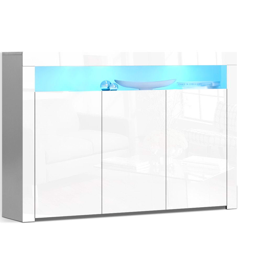 Artiss Buffet Sideboard Cabinet Storage LED High Gloss Cupboard 3 Doors White