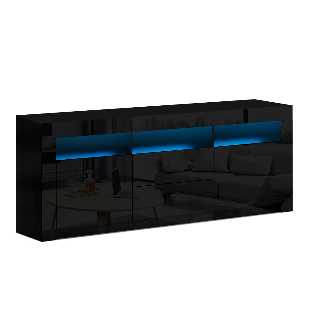 Artiss TV Cabinet Entertainment Unit Stand RGB LED Gloss Drawers 160cm Black