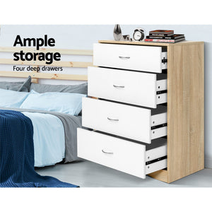 Artiss Chest of Drawers Tallboy Dresser Table Bedroom Storage White Wood Cabinet