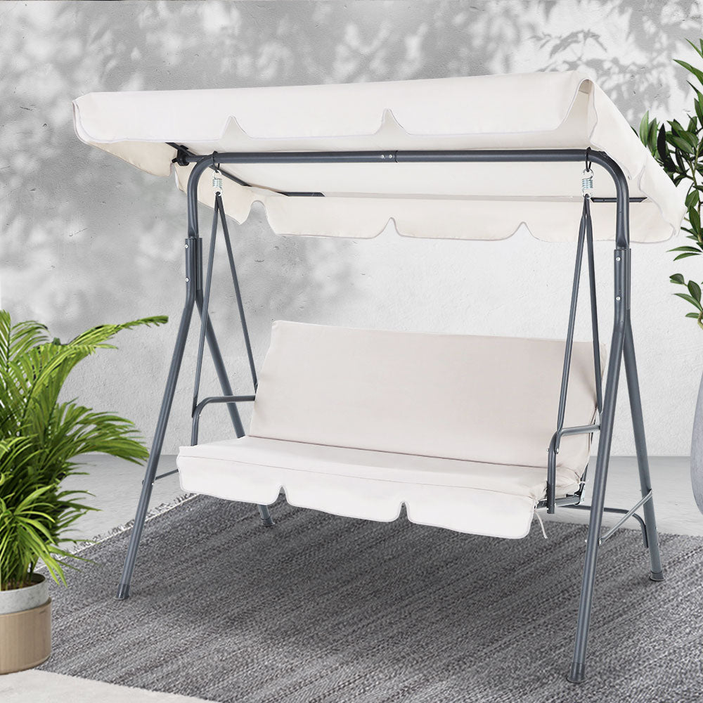 Gardeon Outdoor Swing Chair Hammock 3 Seater Garden Canopy Bench Seat Backyard - [HappyShopping.com.au]