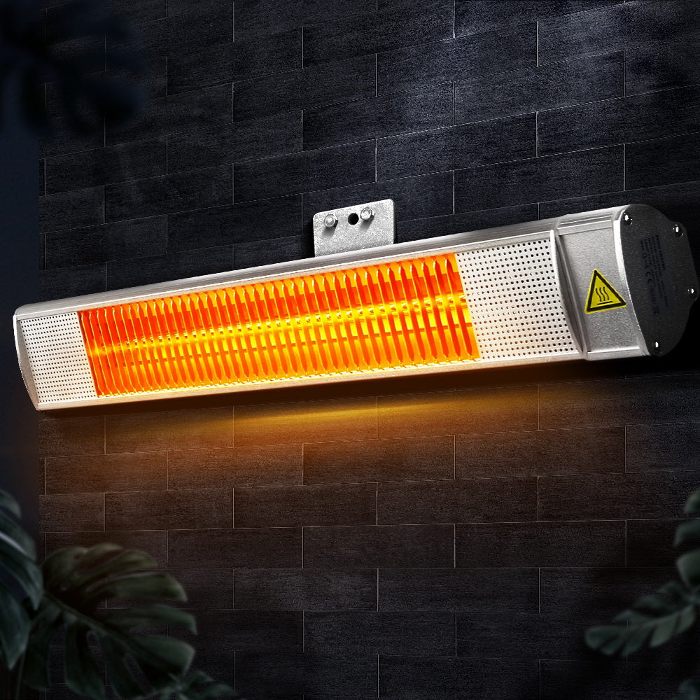 Devanti Electric Infrared Radiant Strip Heater Outdoor Indoor Halogen 2000W