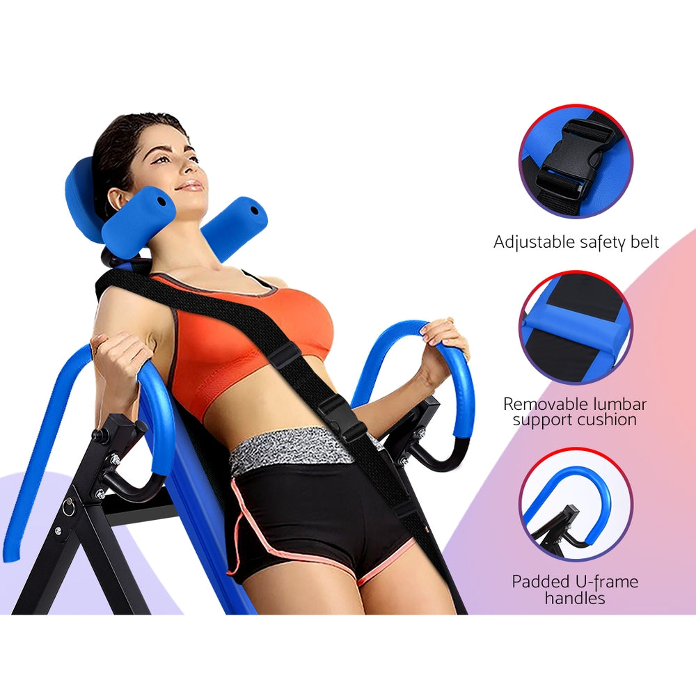 Everfit Gravity Inversion Table Foldable Stretcher Inverter Home Gym Fitness - [HappyShopping.com.au]