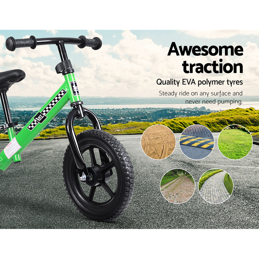 "Kids Balance Bike Ride On Toys Puch Bicycle Wheels Toddler Baby 12"" Bikes Green - [HappyShopping.com.au]"