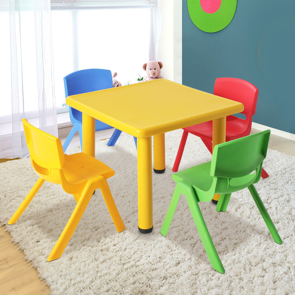 Keezi 5 Piece Kids Table and Chair Set - Yellow - [HappyShopping.com.au]