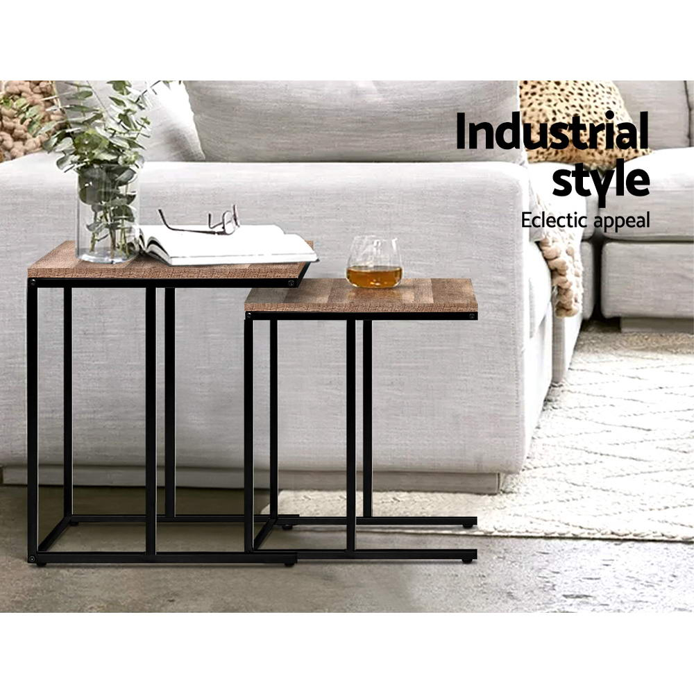 Artiss Coffee Table Nesting Side Tables Wooden Rustic Vintage Metal Frame